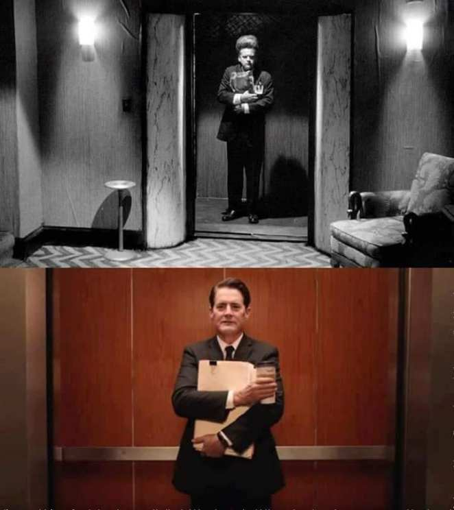 Split image: Henry in an elevator clutching stuff, and Dougie also in an elevator, clutching files and coffee