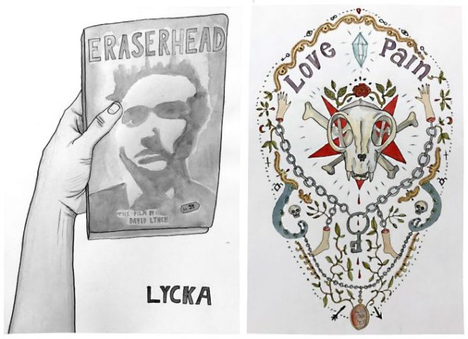Arm holding a copy of eraserhead and a skull surrounded by decorative work