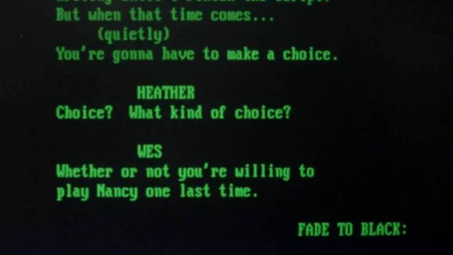 Heather Langenkamp and Wes Craven talk moments before their words appear on a screenplay page in Wes Craven's New Nightmare