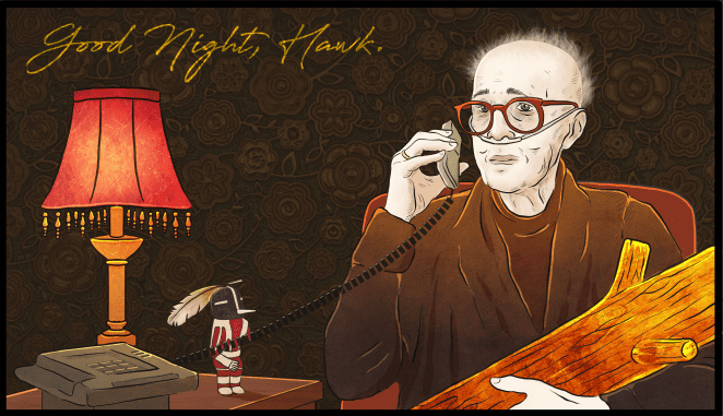 Goodnight Hawk. The log lady on the phone.
