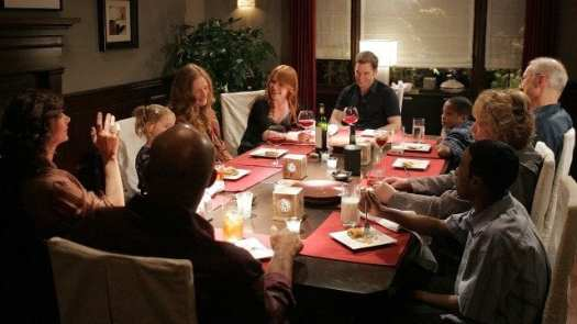 The Fishers have a family dinner in the series finale of HBO's Six Feet Under.