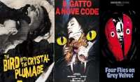 Posters represent the three films of Argento's Animal Trilogy.