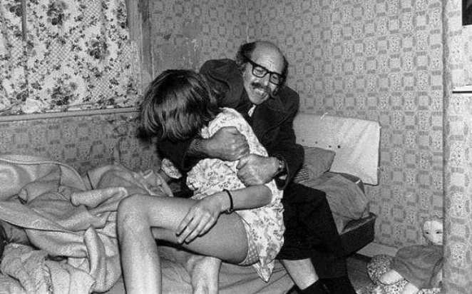 Maurice Grosse tries to calm an apparently possessed Janet Hodgson during the Enfield Haunting