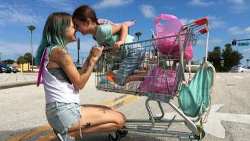 Brooklynn Prince and Bria Vinaite in The Florida Project