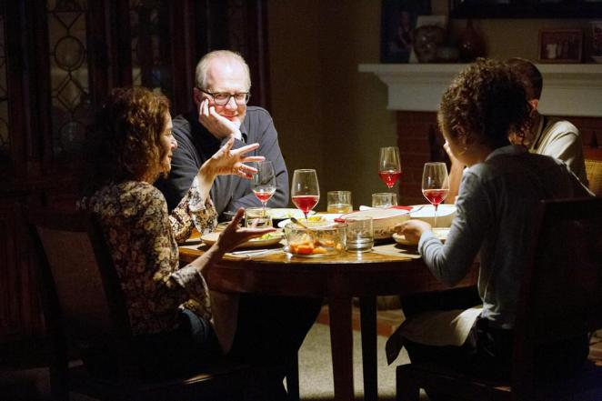 Tracy Letts as Michael in The Lovers as he sits with his partner and another couple at dinner