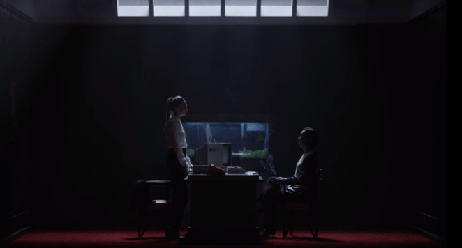 Angela (Portia Doubleday) encounters Whiterose (BD Wong) in USA's Mr. Robot