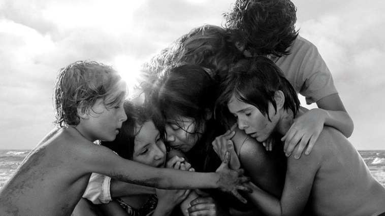 A family comes together in one scene from the film Roma.