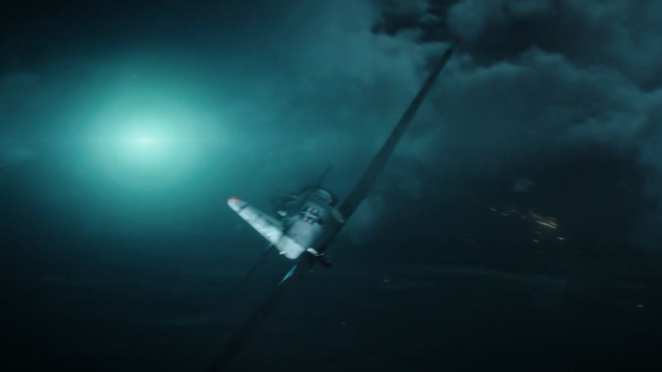 This image shows character pilot Fuller flying a P-51 Mustang with the bright blue light to the left representing the unidentified flying object he reported.