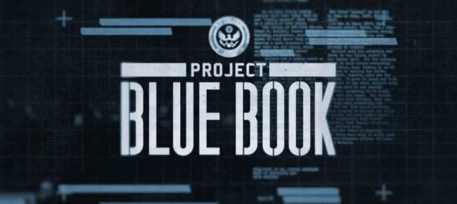 """This is a title image from the credits that shows the title text """"Project Blue Book"""" overlaying faded imagery that appears like redacted files text."""