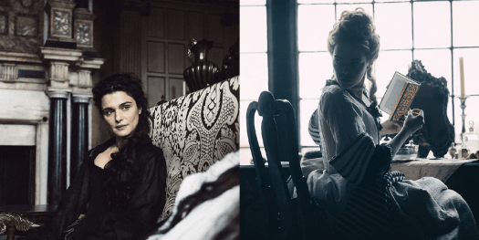 Rachel Weisz as Lady Sarah and Emma Stone as Abigail share a spiteful glance in The Favourite.