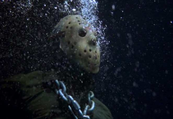 Jason Voorhees is drowned by Tommy Jarvis in Crystal Lake in Friday the 13th Part VI: Jason Lives