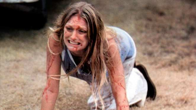 Marilyn Burns trying to escape from Leatherface in the original Texas Chainsaw Massacre