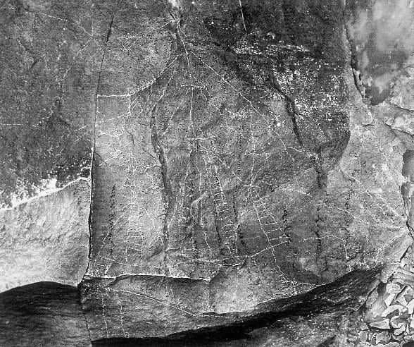 Drawing of ladders and ships on rock at Chumash Rattlesnake Shelter