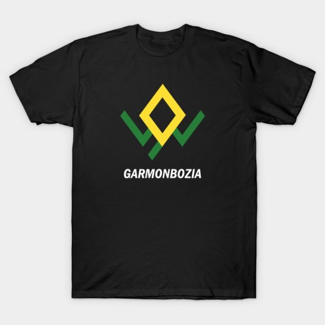 a t-shirt with the owl symbol and garmonbozia written on it