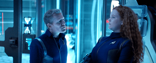 Stamets comforts Tilly by asking her her favorite song.