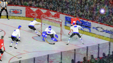 animation of hockey players on a professional hockey rink