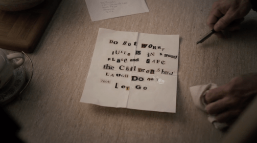 The ransom note sent to the Purcells after Will's death and Julie's disappearance, in True Detective Season 3