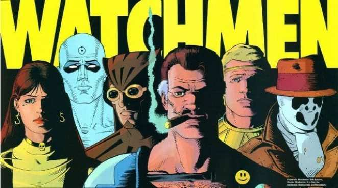 Watchmen cast list and logo, art by Dave Gibbons