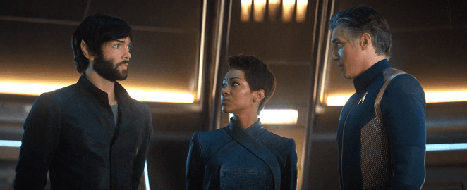 Spock, Burnham and Pike on the Discovery bridge