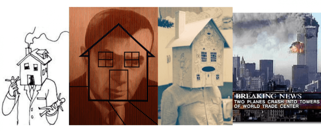 depictions of houses as heads and the world trade centre plane crash
