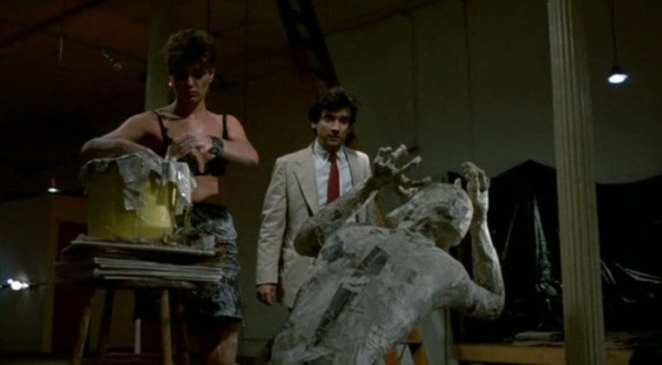 Griffin Dunne surprised by a paper mache figure screaming in After Hours