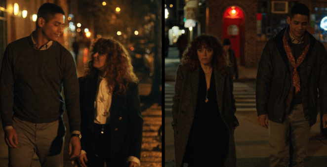 Alan and Nadia helping each other in Episode 8 of Russian Doll