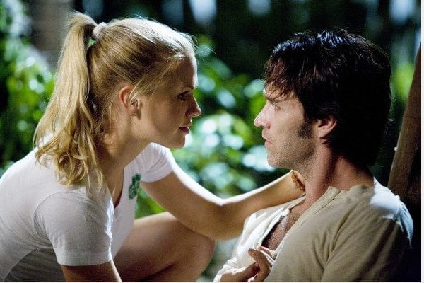 "Sookie (Anna Paquin) and Bill (Steven Moyer) in ""Strange Love,"" the pilot episode of HBO"
