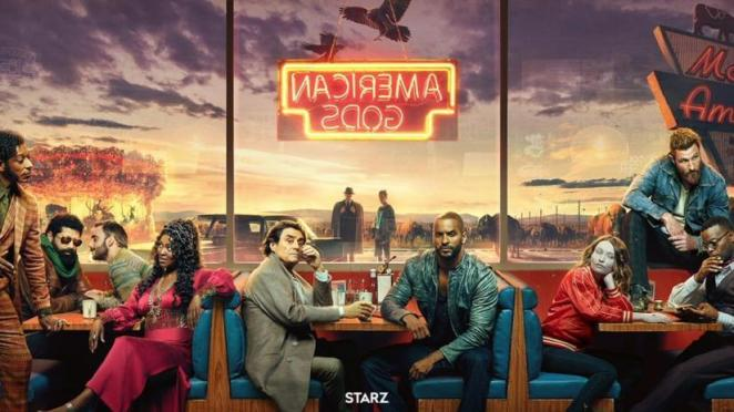 Old and new gods alike gather at the Motel America Diner. From left to right: Mr. Nancy (Orlando Jones), The Jinn (Mousa Kraish), Salim (Omid Abtahi), Bilquis (Yetide Badaki), Mr. Wednesday (Ian McShane), Shadow Moon (Ricky Whittle), Laura Moon (Emily Browning), Mad Sweeney (Pablo Schreiber), Mr. Ibis (Demore Barnes); In the background: Mr. World (Crispin Glover), and Technical Boy (Bruce Langley)