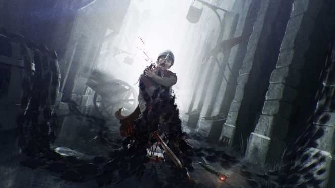 A guard being ripped apart by plague riddled rats in the upcoming game A Plague Tale: Innocence