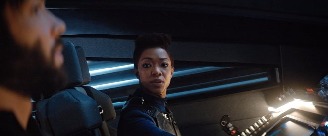 """Spock and Burnham on their way to investigate a Section 31 ship in Star Trek: Discovery Season 2 Episode 12 """"Through the Valley of Shadows"""""""