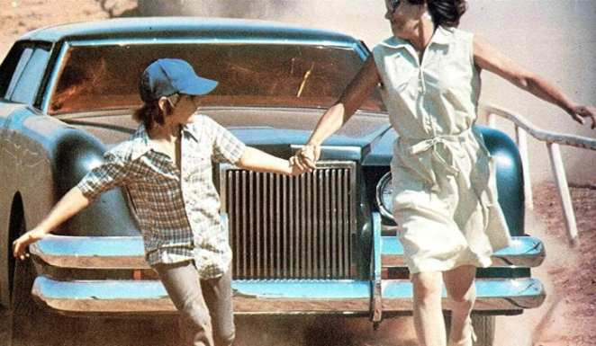 A still from 1977's The Car shows the vehicle in action against townspeople.