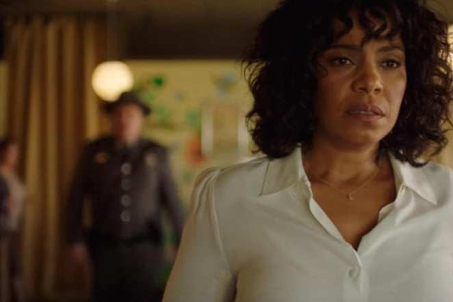 """Nina (Sanaa Lathan) can't elude Officer Lasky in the Twilight Zone episode """"Replay"""""""