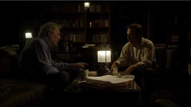 """Jimmy McGill and Chuck McGill in the Better Call Saul pilot episode """"Uno"""""""