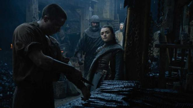 Gendry and Arya at Winterfell in the Game of Thrones episode A Knight of the Seven Kingdoms