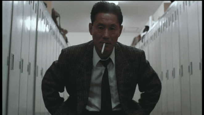 Beat Takeshi is Azuma, a dirty cop who has ambiguous ethics in Violent Cop