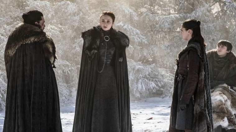 Jon, Sansa, Arya and Bran Stark at Godswood