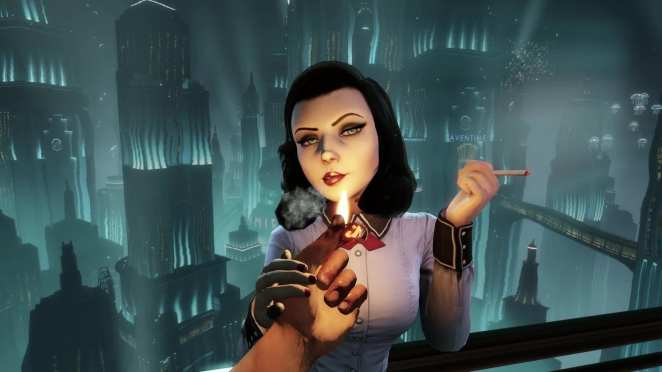 Elizabeth in Bioshock Infinite smoking a cigarette