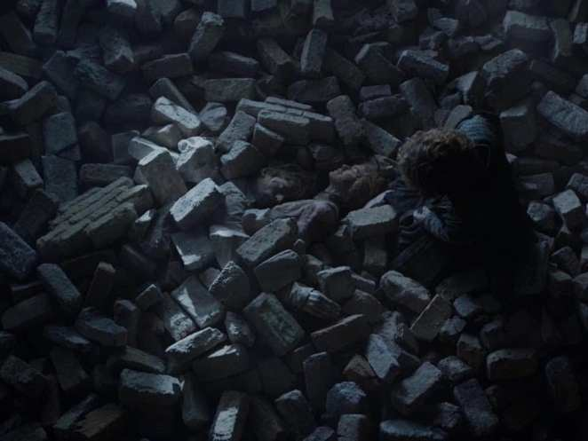 Tyrion finds the bodies of Cersei and Jaime Lannister in the rubble of the Red Keep in the Game of Thrones finale