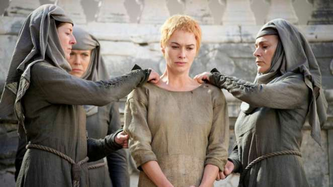 Cersei Lannister begins the Walk of Shame