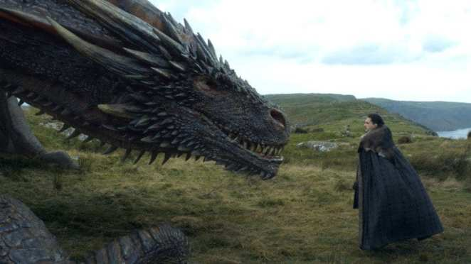 Jon Snow with a dragon in Game of Thrones