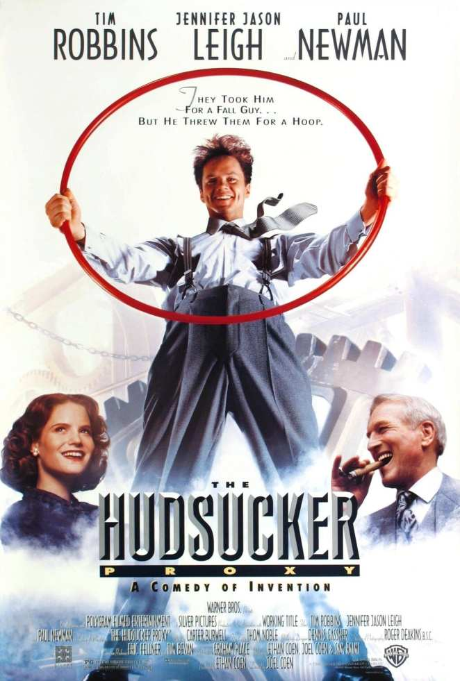 The movie poster for The Hudsucker Proxy is old school and silly.