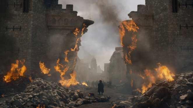 "Tyrion watches in disbelief as Daenerys detroys Kings Landing in Game of Thrones ""The Bells"""