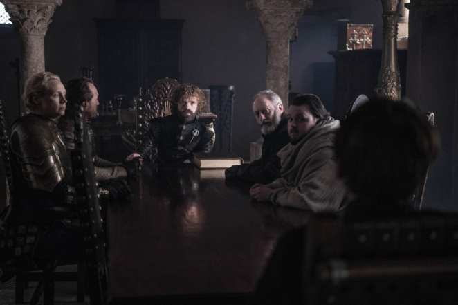 Tyrion, Ser Davos, Samwell Tarly, Ser Brienne, Ser Bronn, and King Bran at a small council meeting in the Game of Thrones finale