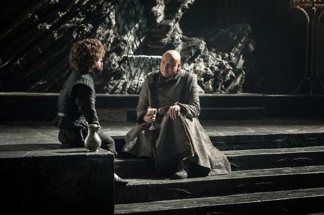 Tyrion and Varys discuss whether Dany or Jon would make the better ruler of the seven kingdoms