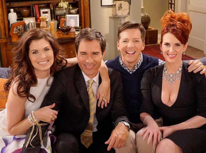 The cast of Will & Grace in a publicity shot from the 2017 reboot