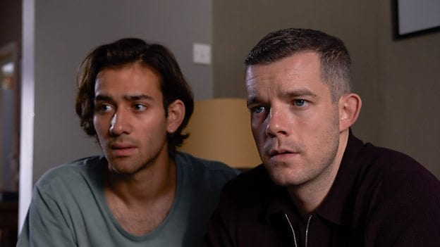 Maxim Baldry and Russell Tovey as Viktor and Daniel in the BBC & HBO show Years and Years
