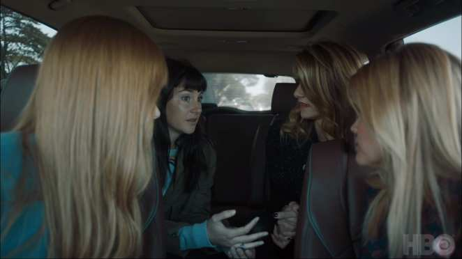 Nicole Kidman, Shailene Woodley, Laura Dern, and Reese Witherspoon as Celeste, Jane, Renata, and Madeline in the Season 2 premiere of Big Little Lies