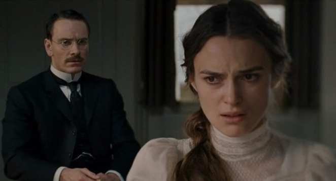Jung (Fassbender) examines Sabina (Knightley) in David Cronenberg's A Dangerous Method