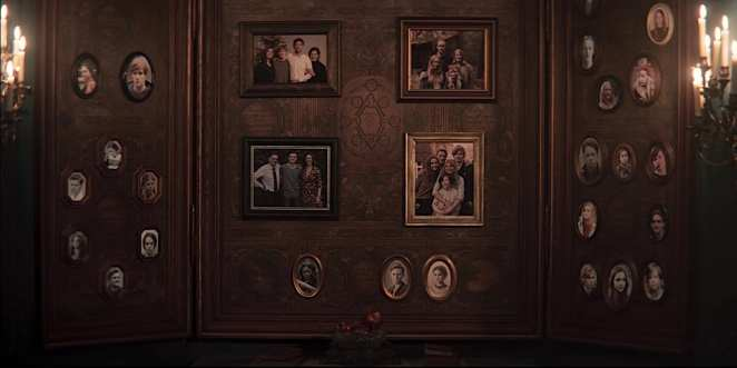 The wall of photographs in the Sic Mundus headquarters in Season 2 Episode 1 (Beginnings and Endings) of Netflix's Dark