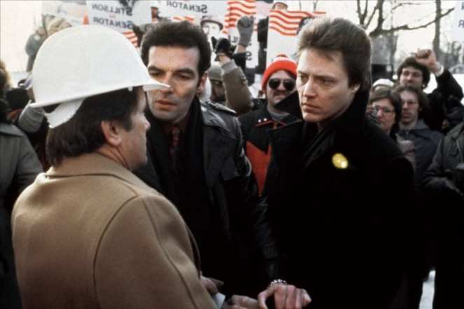 Johnny Smith (Christopher Walken) forces a handshake onto, and a vision from, political candidate Greg Stillson (Martin Sheen).